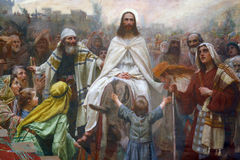 Jesus on Palm Sunday. Jesus` triumphal entry into Jerusalem stock images