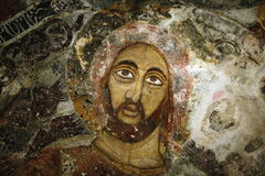 Jesus. Pictures drawn on rocks at the Sumela Monastery Royalty Free Stock Photos