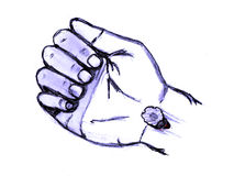 Jesus pierced hand with nail (wrist). Jesus wounded wrist pierced during crucifixion Royalty Free Stock Photography
