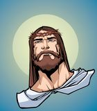 Jesus Portrait Icon. Portrait of Jesus Christ wearing crown of thorns and looking at you with serious expression.r royalty free illustration
