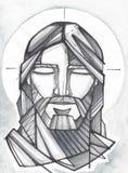 Jesus Praying Face Royalty-vrije Stock Foto
