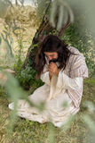 Jesus praying on mount of olives. Jesus in agony praying in the garden of olives before his crucifixion Stock Images