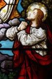Jesus praying (stained glass) Stock Photos