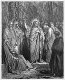 Jesus predigt in der Synagoge lizenzfreie abbildung