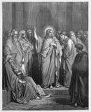 Jesus predikar i synagogan royaltyfri illustrationer