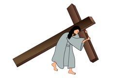 Jesus que leva a cruz Foto de Stock Royalty Free