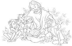 Jesus reading the Bible to Children. Coloring page Royalty Free Stock Photo