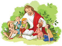 Jesus reading the bible to children Royalty Free Stock Photos