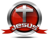 Jesus - Red and Metal Icon Stock Photo