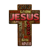 Jesus religion word cloud, retro style Easter background Royalty Free Stock Image