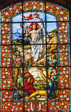 Jesus Ressurection Stained Glass Saint Louis En L'ile kyrka Paris Frankrike arkivbild