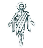 Jesus Resurrection b. Hand drawn vector illustration or drawing of Jesus Christ Resurrection Royalty Free Stock Photos