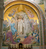 Jesus Resurrection. Painting in the Basilica Our Lady of the Rosary in Lourdes,France royalty free stock photography