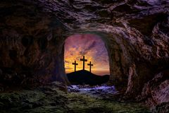 Jesus resurrection sepulcher grave cross. Crucifixion concept photo mount royalty free stock photo