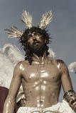 Jesus rev av av hans plagg, påsk i Seville Fotografering för Bildbyråer