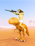 Jesus riding dinosaur, hunting in the desert Stock Image