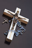 Jesus and rosary. Unlit background isolate Royalty Free Stock Photo