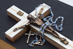 Jesus and rosary. The bible done Royalty Free Stock Photo
