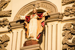 Jesus Sacred Heart in Monterrey Cathedral. 10 10 2016 / Photograph of an old stone catholic church facade of Cathedral of Monterrey Mexico Royalty Free Stock Photography