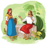 Jesus and the Samaritan Woman at the Well. Jesus talks with the Samaritan woman. Also available coloring page illustration in gallery Royalty Free Stock Image