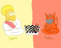 Jesus And Satan Board of Game. Jesus and Satan playing a board of chess game Royalty Free Stock Photo
