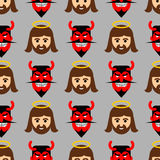 Jesus and Satan seamless pattern. Christ and red devil with horn Royalty Free Stock Photo