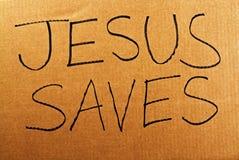 Jesus Saves Cardboard Sign Royalty Free Stock Photo