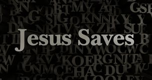 Jesus Saves - 3D rendered metallic typeset headline illustration Royalty Free Stock Images