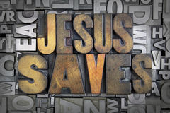 Jesus Saves. Written in vintage letterpress type Stock Photo
