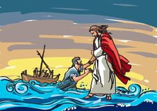 Free Jesus Saving Peter From The Sea Colour Illustration Royalty Free Stock Photography - 171519637