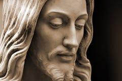 Jesus, sepia-toned photo  copy-space. Jesus statue close-up, sepia -toned photo with copy-space Royalty Free Stock Image