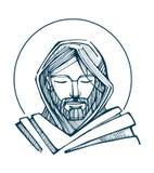 Jesus Serene Face illustrazione vettoriale
