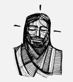 Jesus Serene Face e illustrazione vettoriale