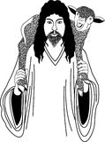 Jesus and sheep Royalty Free Stock Images