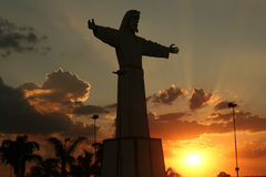 Jesus Silhouette. Statue of Jesus in Silhouette Stock Photography