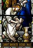 Jesus som tvättar foten av St Peter Royaltyfria Foton