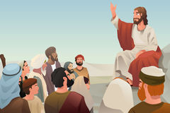 Jesus spreading his teaching to people. A vector illustration of Jesus spreading his teaching to people Stock Photo