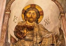 Jesus stående på freskomålning av den Svetitskhoveli domkyrkan, från det 4th århundradet i Mtskheta, Georgia Lokal för Unesco-vär Royaltyfri Bild