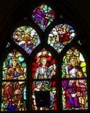 Jesus Stained Glass De Krijtberg Amsterdam för vishetfredrättvisa Nederländerna royaltyfri fotografi