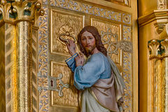 Jesus standing at the door and knocking Stock Photo