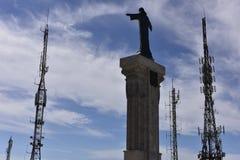 Jesus Statue at Monte Toro between Antennas, Menorca, Spain Stock Photo