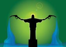 Jesus-Statueholdingkraftstoffpumpen Stockbilder