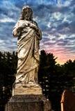 Jesus staty i kyrkogård Fotografering för Bildbyråer