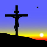 Jesus sulla traversa Fotografie Stock