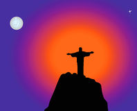 Jesus, sun, morning star. Monument Jesus standing on a high hill at sunrise Stock Image