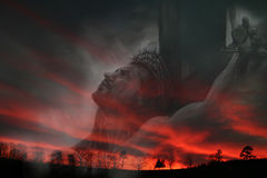 Jesus and sunset. Jesus on the Cross against sunset art and photo Stock Photo