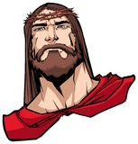 Jesus Superhero Portrait. Portrait of Jesus Christ wearing red cape like a superhero, and looking at you with serious expression royalty free illustration