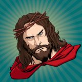 Jesus Superhero Portrait. Portrait of Jesus Christ wearing red cape like a superhero, and looking at you with serious expression.rr vector illustration