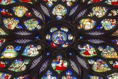 Jesus Sword Rose Window Stained-Glas Sainte Chapelle Paris France Stock Foto's