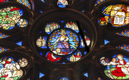 Jesus Sword Rose Window Stained Glass Sainte Chapelle Paris France Royaltyfri Foto